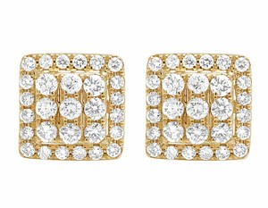 Other 14K Yellow Gold Full Cut Real Diamond 11MM Square Halo Stud Earring 1