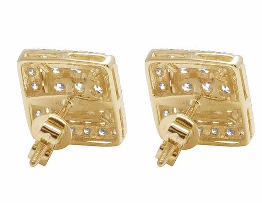 Other 14K Yellow Gold Full Cut Real Diamond 11MM Square Halo Stud Earring 1 Image 1