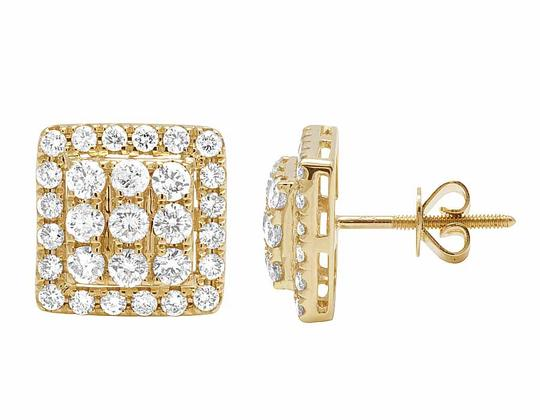 Other 14K Yellow Gold Full Cut Real Diamond 11MM Square Halo Stud Earring 1 Image 2