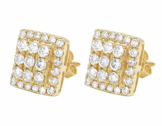 Other 14K Yellow Gold Full Cut Real Diamond 11MM Square Halo Stud Earring 1 Image 3