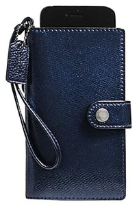 Coach Metallic Midnight Leather Phone Wallet Wristlet with Gift Box