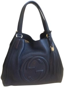 Gucci Leather Satchel in Navy Blue