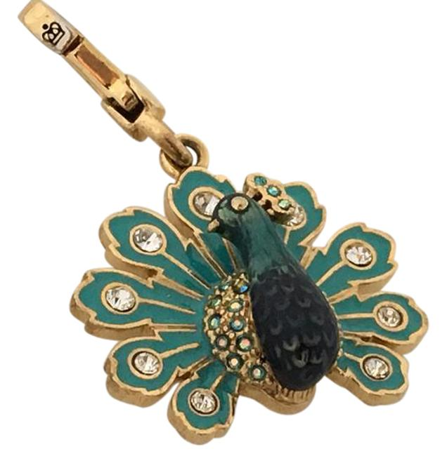 Item - Teal Blue Gold Peacock Charm