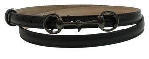 Gucci GUCCI 282349 Horsebit Leather Skinny Belt, Black 100-40