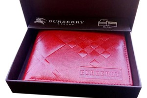 Burberry Burberry Red Pebbled Bi-fold Wallet