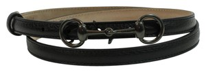 Gucci GUCCI 282349 Horsebit Leather Skinny Belt, Black 95-38