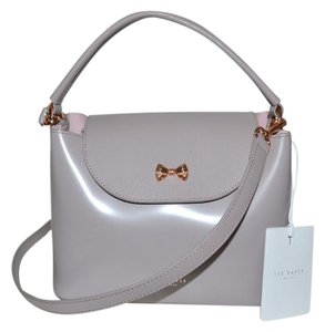 Ted Baker Rose Gold Leather Top Handle Micro Bow Satchel in Mid Purple