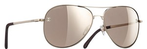 Chanel 4189 Aviators CC Pilot Signature Titanium Calfskin Oversized Mirrored