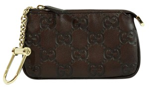 Gucci GUCCI 233183 GG Leather Clip Key Case Coin Wallet, Brown