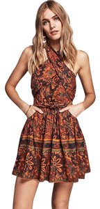 Free People short dress rust/brown patterned on Tradesy