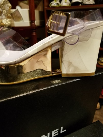 Chanel Clear with Creme Patent Leather Sandals Image 1