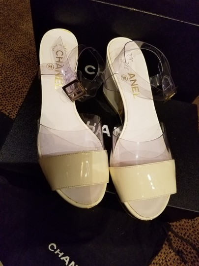 Chanel Clear with Creme Patent Leather Sandals Image 2