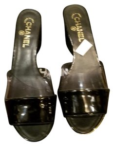 Chanel Clear and Black Patent Leather Sandals