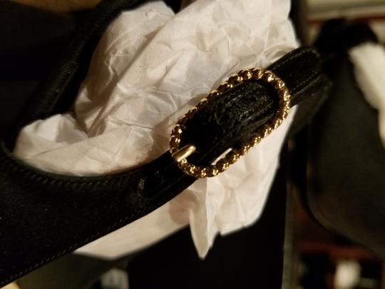 Chanel Black sling back with Carmillia Cloth Flower and Velvet band in front with small gold cc's Formal Image 1
