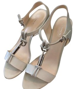 Coach Summer Spring Patent Leather White Sandals