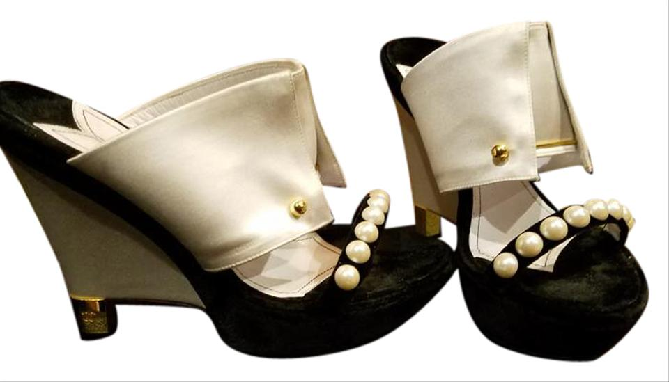 8ddd0e17ce8 Black and White Satin and Velvet Tuxedo Pearls Sandals Size US 8.5 ...