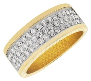 Jewelry Unlimited Mens 3 Row Genuine Diamond Wedding Engagement Ring Band 1.3ct