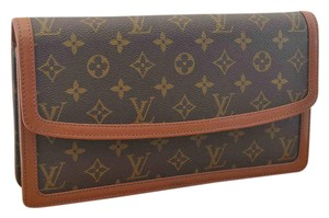 Louis Vuitton Leather Vintage Monogram Luxury Brown Clutch