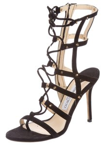 Jimmy Choo Cage Strappy Ankle Strap Gold Hardware Meddle Black Sandals