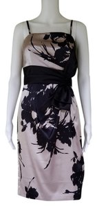 White House | Black Market Floral Satin Boned Strapless Spaghetti Straps Dress