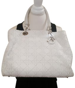 Dior Leather Braided Woven Charm Lady Satchel in Ivory
