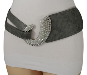 other Women Gray Wide Faux Leather Fashion Belt Hip Waist Silver Metal Hook