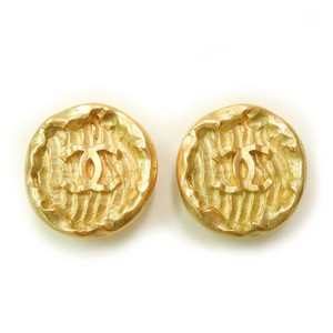 Chanel CHANEL Gold Plated CC Logos Vintage Earrings