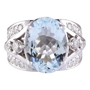 Fashion Strada 7.97 CTW Natural Aquamarine And Diamond Ring In 14k White Gold