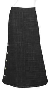 Chanel Tweed Full Length Maxi Skirt Navy and black
