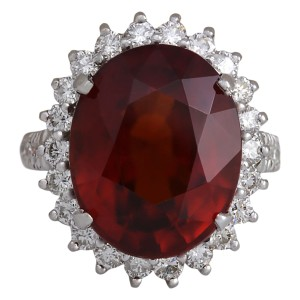 Fashion Strada 18.43 CTW Natural Red Hessonite Garnet And Diamond Ring In14K White Go