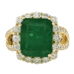 Fashion Strada 7.49CTW Natural Colombian Emerald And Diamond Ring In 14K Yellow Gold