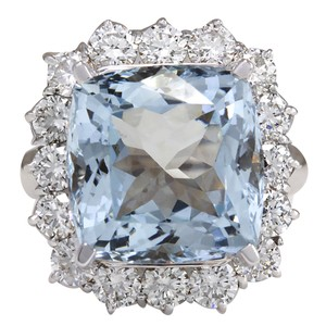 Fashion Strada 12.11CTW Natural Aquamarine And Diamond Ring In 14K Solid White Gold