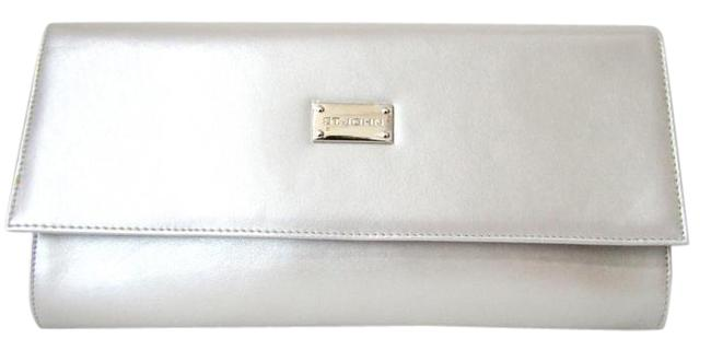 Item - New Platinum Envelope Metallic Silver Leather Clutch