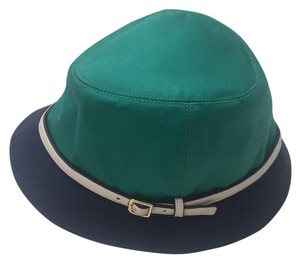 Coach Solid Fedora Hat Multi-Color Navy/Jade 83633