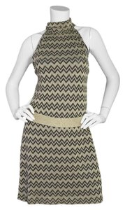 M Missoni short dress Black and gold M Metallic Knit Chevron Shift on Tradesy