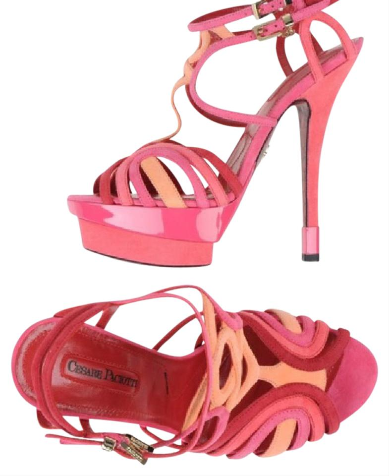 Cesare Paciotti Red Pink Peach & Suede & Peach Patent Leather Heeled Sandals Platforms cebc40