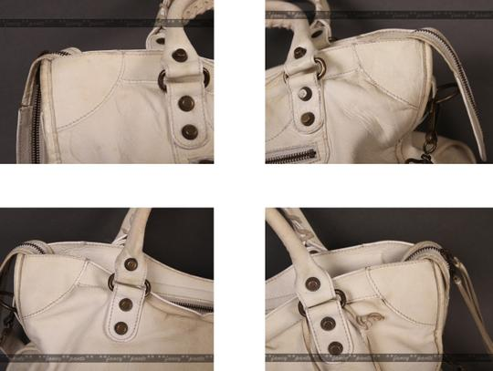Balenciaga Motorcycle City Motorcycle City Well Worn Project Satchel in Ivory
