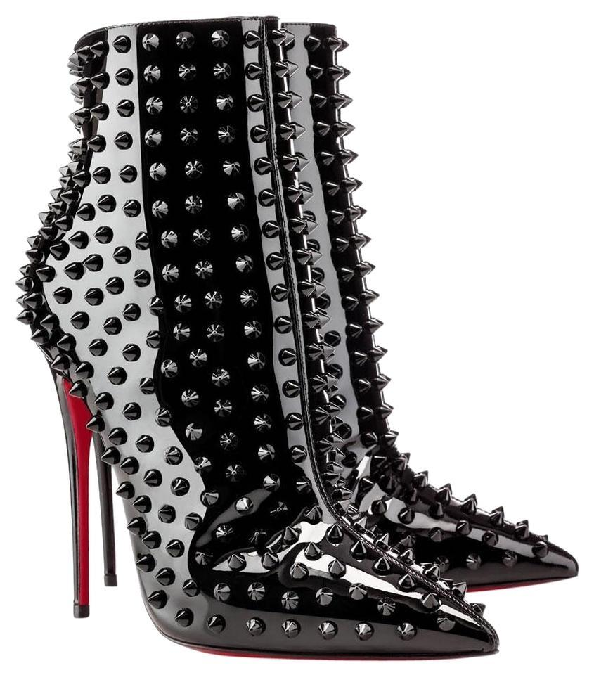 new concept a9296 401cb Christian Louboutin Black New Snakilta Patent Spike Ankle Lady High Heel  Toe Zip Red Sole Italy Boots/Booties Size EU 37.5 (Approx. US 7.5) Regular  ...