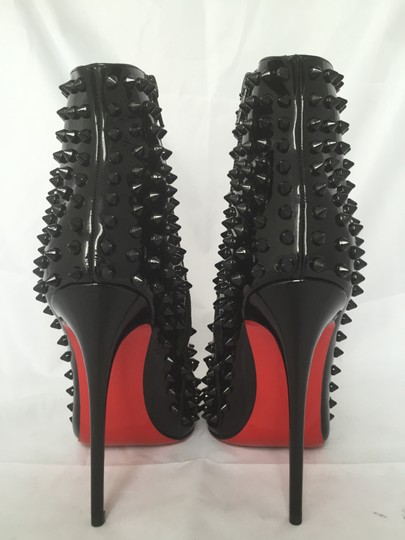 Christian Louboutin High Heels Ankle Snakilta Red Sole Black Boots Image 2