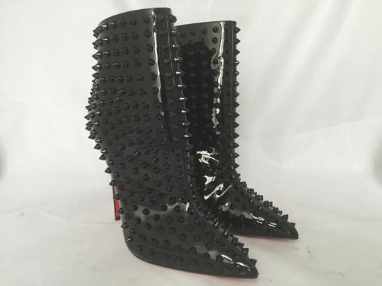 Christian Louboutin High Heels Ankle Snakilta Red Sole Black Boots Image 3