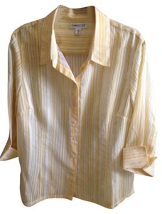 Coldwater Creek Machine Washable Tumble Dry Petite Xl Top Yellow