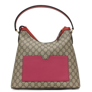 46f97f8f419 Gucci Gg Supreme Beige Pink Red 414980 Pink Red Canvas   Leather ...