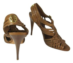 Tory Burch Brown Leather Strappy Gold Sandals