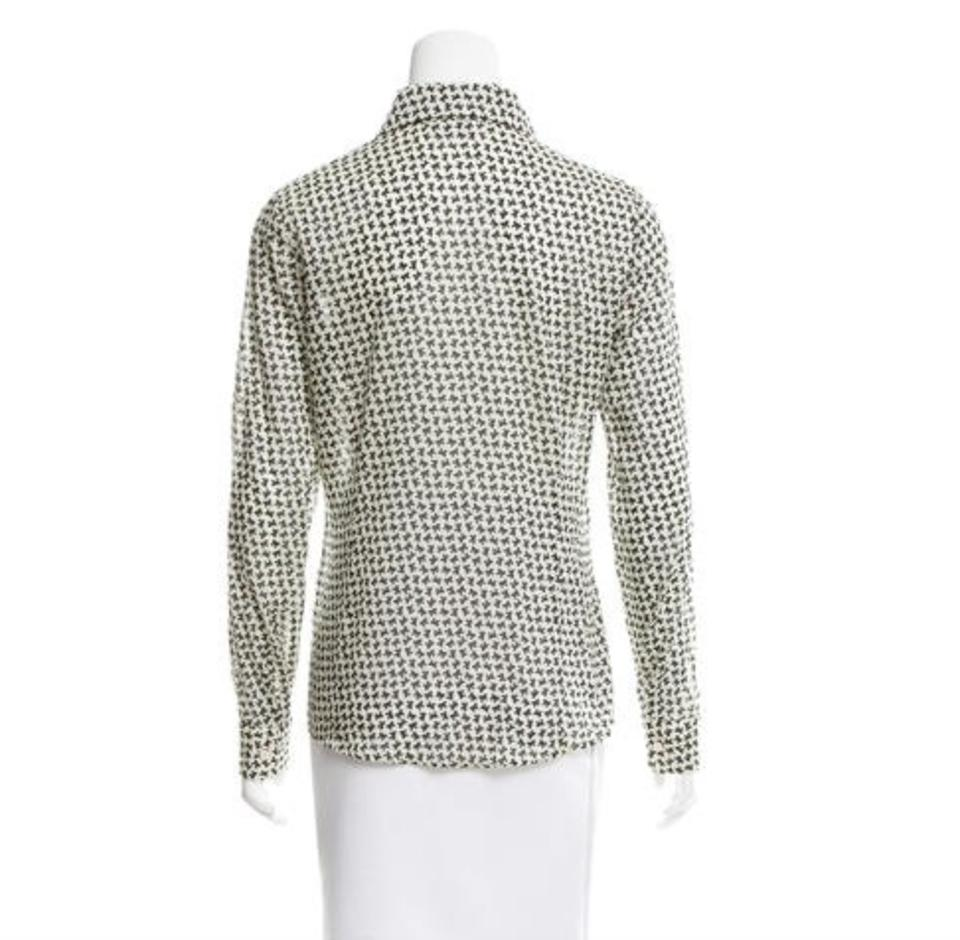 Red valentino off white and black bow print shirt button for Red and white button down shirt