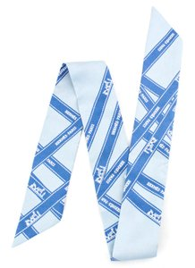 Herms #11874 RARE blue buldoc signature logo ribbon Twilly Scarf 100% Silk
