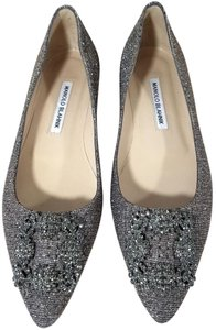 Manolo Blahnik Jewel Embellishment Elegant Satin Padded Made In Italy Pointed Toe gold and silver glittered Flats