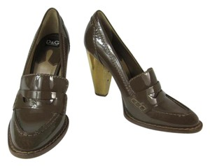 Dolce&Gabbana Brown Leather Gold Dolce Patent Pumps