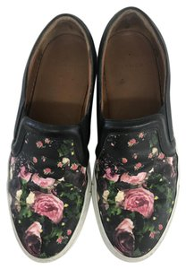 Givenchy Black Leather Trim Round Toe Floral Print Tonal Stitching Rubber Soles Multi Athletic
