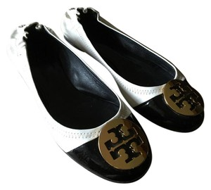 Tory Burch Pre Owned Condition Ballerina And White with Black Toe Cap Flats