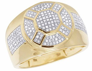 Jewelry Unlimited 10K Yellow Gold Real Diamond Mens Designer Pinky Ring 1/2 CT 16MM